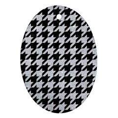 Houndstooth1 Black Marble & Silver Glitter Ornament (oval)