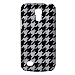 Houndstooth1 Black Marble & Silver Glitter Galaxy S4 Mini