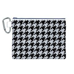 Houndstooth1 Black Marble & Silver Glitter Canvas Cosmetic Bag (l)