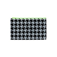 Houndstooth1 Black Marble & Silver Glitter Cosmetic Bag (xs)