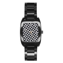 Houndstooth2 Black Marble & Silver Glitter Stainless Steel Barrel Watch