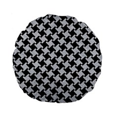 Houndstooth2 Black Marble & Silver Glitter Standard 15  Premium Flano Round Cushions