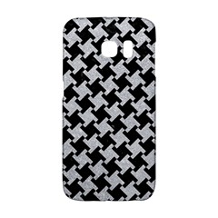 Houndstooth2 Black Marble & Silver Glitter Galaxy S6 Edge
