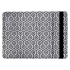 Hexagon1 Black Marble & Silver Glitter Samsung Galaxy Tab Pro 12 2  Flip Case