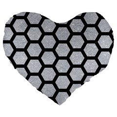 Hexagon2 Black Marble & Silver Glitter Large 19  Premium Heart Shape Cushions