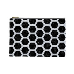 Hexagon2 Black Marble & Silver Glitter (r) Cosmetic Bag (large)