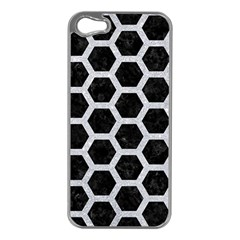 Hexagon2 Black Marble & Silver Glitter (r) Apple Iphone 5 Case (silver)