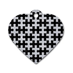 Puzzle1 Black Marble & Silver Glitter Dog Tag Heart (one Side)