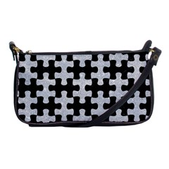 Puzzle1 Black Marble & Silver Glitter Shoulder Clutch Bags