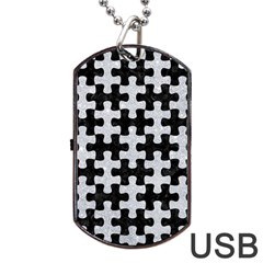 Puzzle1 Black Marble & Silver Glitter Dog Tag Usb Flash (one Side)