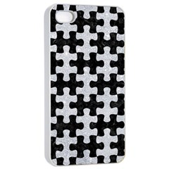 Puzzle1 Black Marble & Silver Glitter Apple Iphone 4/4s Seamless Case (white)