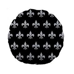 Royal1 Black Marble & Silver Glitter Standard 15  Premium Round Cushions