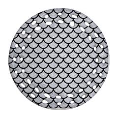 Scales1 Black Marble & Silver Glitter Ornament (round Filigree)