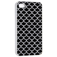 Scales1 Black Marble & Silver Glitter (r) Apple Iphone 4/4s Seamless Case (white)