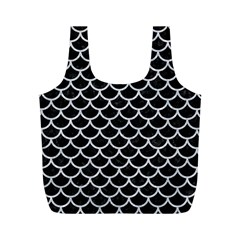 Scales1 Black Marble & Silver Glitter (r) Full Print Recycle Bags (m)