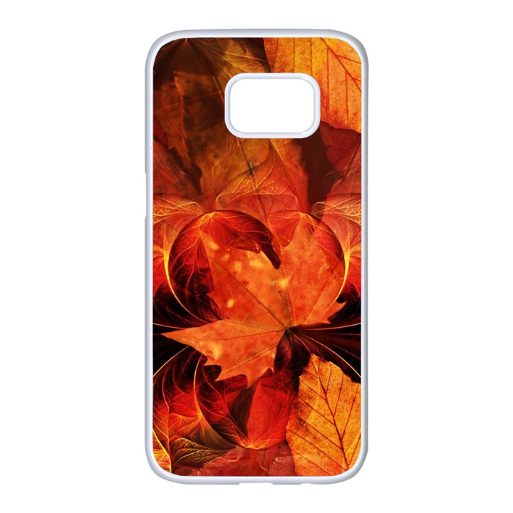 Ablaze With Beautiful Fractal Fall Colors Samsung Galaxy S7 edge White Seamless Case
