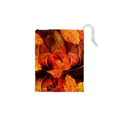 Ablaze With Beautiful Fractal Fall Colors Drawstring Pouches (xs)
