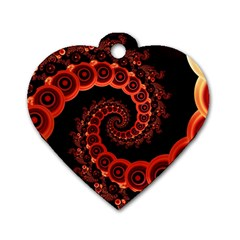 Chinese Lantern Festival For A Red Fractal Octopus Dog Tag Heart (one Side)