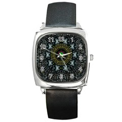 Leaf Earth And Heart Butterflies In The Universe Square Metal Watch