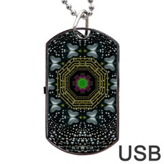 Leaf Earth And Heart Butterflies In The Universe Dog Tag Usb Flash (one Side)