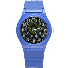 Leaf Earth And Heart Butterflies In The Universe Round Plastic Sport Watch (s)