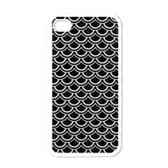 Scales2 Black Marble & Silver Glitter (r) Apple Iphone 4 Case (white)