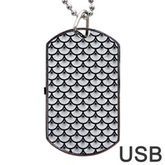 Scales3 Black Marble & Silver Glitter Dog Tag Usb Flash (two Sides)