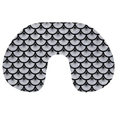Scales3 Black Marble & Silver Glitter Travel Neck Pillows