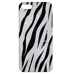 Skin3 Black Marble & Silver Glitter Apple Iphone 5 Hardshell Case With Stand