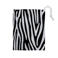 Skin4 Black Marble & Silver Glitter Drawstring Pouches (large)