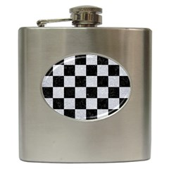 Square1 Black Marble & Silver Glitter Hip Flask (6 Oz)