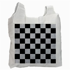 Square1 Black Marble & Silver Glitter Recycle Bag (one Side)