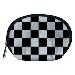 Square1 Black Marble & Silver Glitter Accessory Pouches (medium)