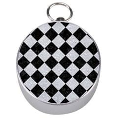 Square2 Black Marble & Silver Glitter Silver Compasses