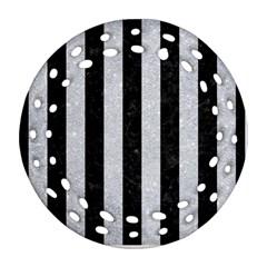 Stripes1 Black Marble & Silver Glitter Ornament (round Filigree)