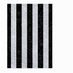 Stripes1 Black Marble & Silver Glitter Large Garden Flag (two Sides)