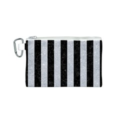 Stripes1 Black Marble & Silver Glitter Canvas Cosmetic Bag (s)