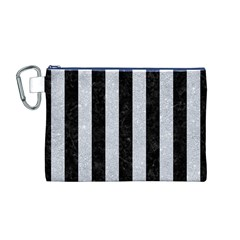 Stripes1 Black Marble & Silver Glitter Canvas Cosmetic Bag (m)
