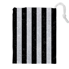Stripes1 Black Marble & Silver Glitter Drawstring Pouches (xxl)