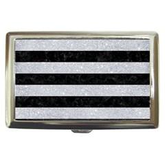 Stripes2 Black Marble & Silver Glitter Cigarette Money Cases