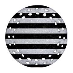 Stripes2 Black Marble & Silver Glitter Ornament (round Filigree)
