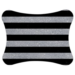 Stripes2 Black Marble & Silver Glitter Jigsaw Puzzle Photo Stand (bow)