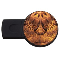 Beautiful Gold And Brown Honeycomb Fractal Beehive Usb Flash Drive Round (2 Gb)