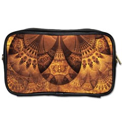 Beautiful Gold And Brown Honeycomb Fractal Beehive Toiletries Bags