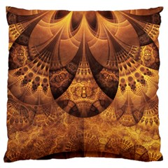 Beautiful Gold And Brown Honeycomb Fractal Beehive Large Cushion Case (one Side)