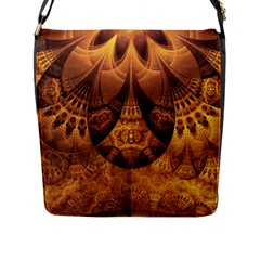 Beautiful Gold And Brown Honeycomb Fractal Beehive Flap Messenger Bag (l)