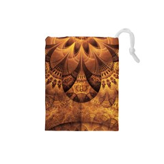 Beautiful Gold And Brown Honeycomb Fractal Beehive Drawstring Pouches (small)