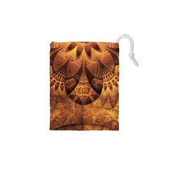 Beautiful Gold And Brown Honeycomb Fractal Beehive Drawstring Pouches (xs)