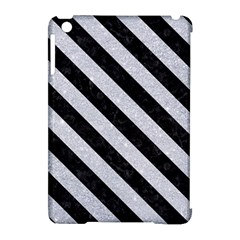 Stripes3 Black Marble & Silver Glitter Apple Ipad Mini Hardshell Case (compatible With Smart Cover)