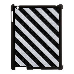 Stripes3 Black Marble & Silver Glitter Apple Ipad 3/4 Case (black)